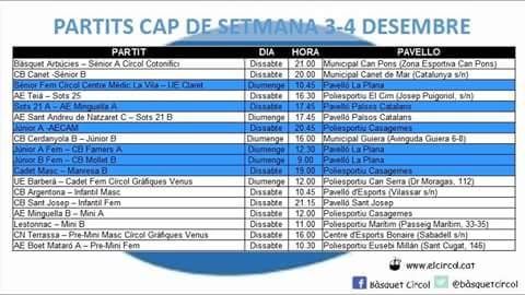 Agenda (3-4 desembre)