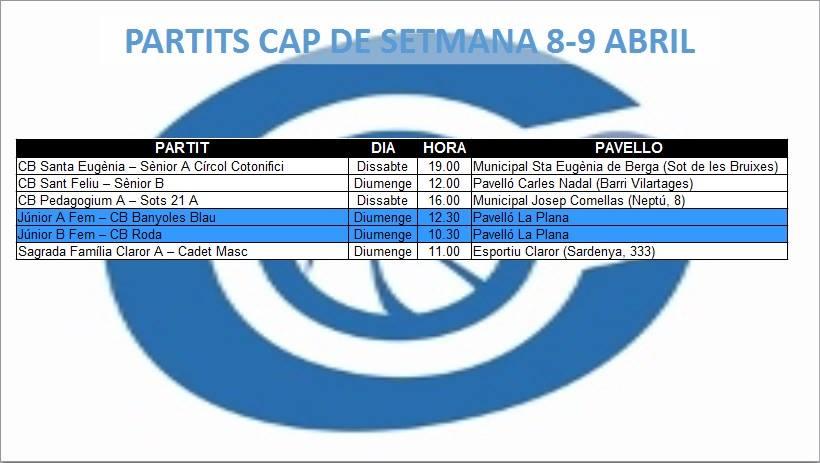 Agenda (8-9 d'abril)