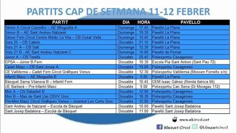 Agenda 11-12 de febrer